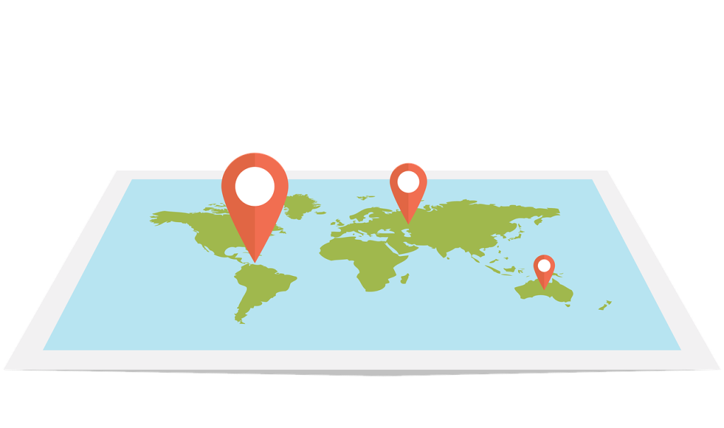 carte du monde avec des icônes de localisation