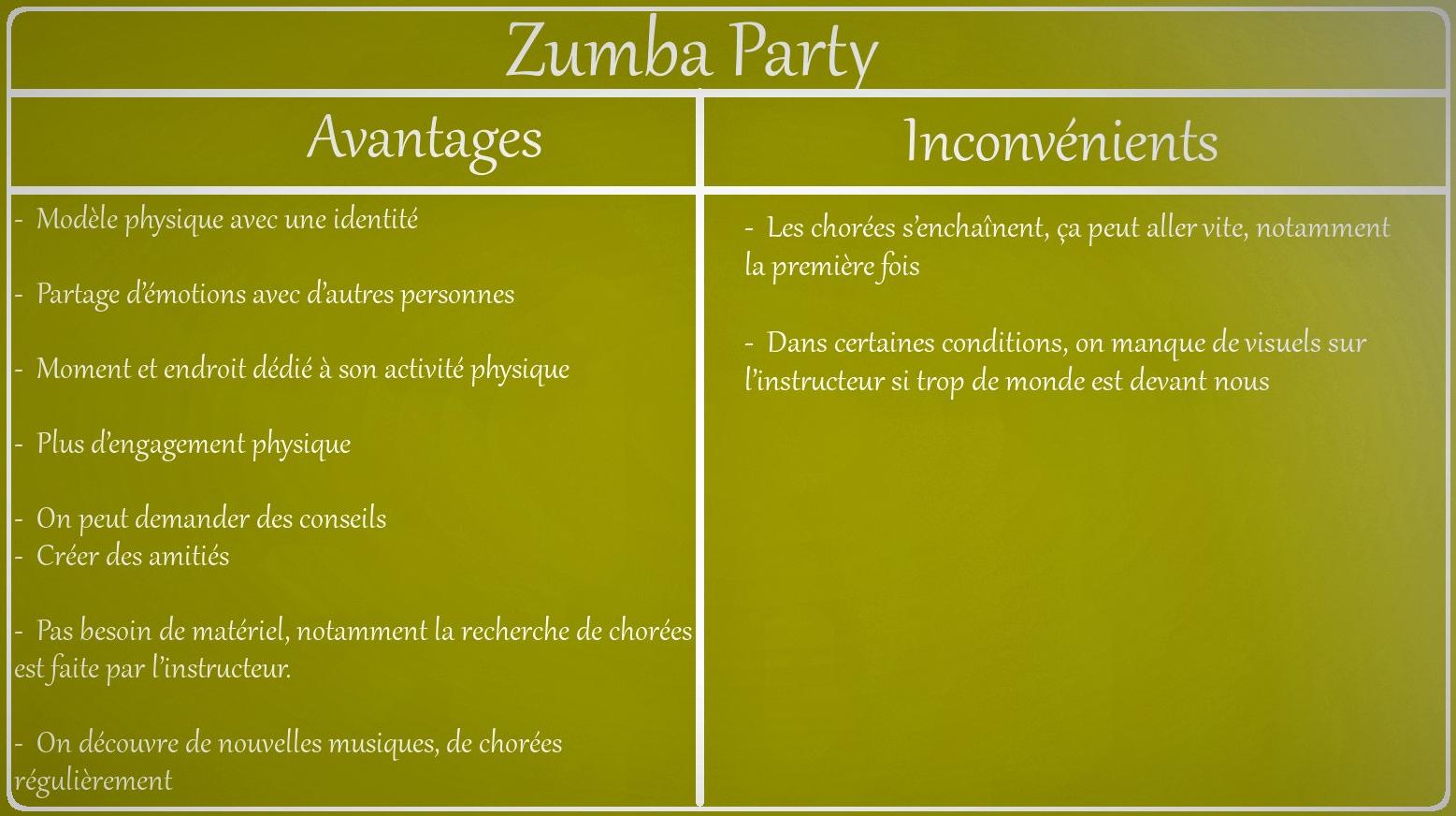 Zumba Party avantages et inconvénients