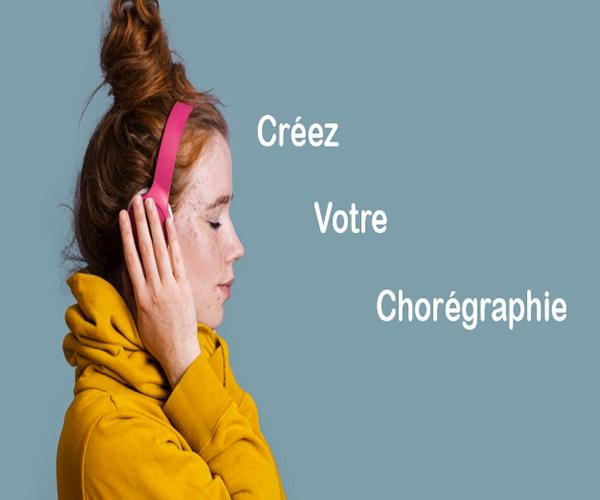 créez votre chorégraphie écrit sur fond bleu et une fille qui écoute de la musique avec un casque