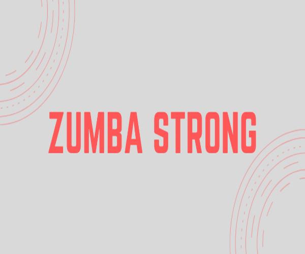 zumba strong écriture rouge avec des coté arrondis